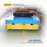 schwere Ladung motorisierte flache Karre 25t, die auf Gleis läuft