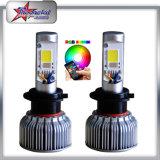 Phare automatique en gros du changement de couleur RVB DEL du nécessaire H4 d'ampoule de phare de la lumière RVB DEL de véhicule du contrôle 2in1 H7 de smartphone de Bluetooth pour la moto de véhicule