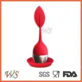 Maniglia del setaccio del foglio di Infuser del tè Ws-If036 con il coperchio del foglio del silicone della sfera d'acciaio (rosso)