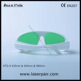 Alta calidad para el rojo 635nm y gafas de seguridad de laser del diodo 905nm y 980nm (RTD-4 630-660nm y 800-830nm y 900-1100nm) con el marco blanco 52