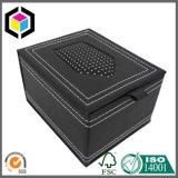 Caixa de presente rígida de couro do papel do cartão do plutônio do preto luxuoso
