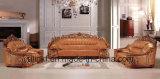 Sofà classico del cuoio di legno moderno del salone (UL-NS207)