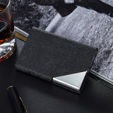 Suporte de cartão de couro do nome do negócio do plutônio do preto do metal da qualidade superior