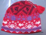 冬のアクリルのカスタムニットPOM POMの帽子の帽子