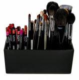 Kundenspezifischer schwarzer Acrylverfassungs-Pinsel-Halter-Organisator-Kasten mit 3 Schlitzen