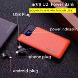 1 USB는 가죽 짜임새 6000mAh 보편적인 USB 힘 은행을 향한다