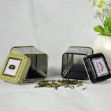 Kundenspezifischer kleiner quadratischer Metalltee-Zinn-Kasten mit verschiedenen Aroma-Entwürfen