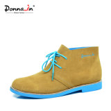 (Donna-in) Form-Kuh-Veloursleder-Lace-up flache Frauen-Knöchel-Aufladungen