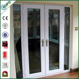Белый застекленный двойник, изготовление двери качания PVC французский двери Casement
