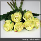 Домашнее Decor Real Touch Yellow Artificial Flower Rose для Wedding