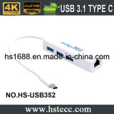 Высокоскоростной тип c USB 3.1 к 3-Port эпицентру деятельности USB 3.0 с локальными сетями RJ45