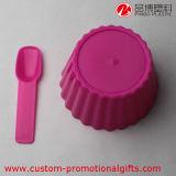 Copo plástico do gelado do queque reusável com colher