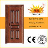 Casas moderna puerta delantera del diseño del acero (SC-S008)
