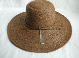 Cappello di paglia fatto a mano tinto della treccia della rafia del Brown della rafia