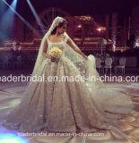 アラビア花嫁の夜会服の贅沢な水晶水晶レースのウェディングドレスH201652
