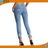 Gescheurde Jeans van de Broek van het Potlood van de Ritssluiting van het Denim van vrouwen de Toevallige Magere Manier