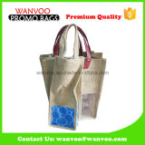 Подгонянная оптовая складная хозяйственная сумка Tote джута с окном PVC для вина
