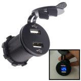 Multifuncional 12-24V 4.2A Dual USB Port Phone Charger com Voltímetro LED para carros, motocicletas, ATV, RV, SUV, Barco