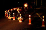Het Licht van de LEIDENE Pijl van Verkeersteken voor de Kegel van het Verkeer