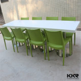 4 Seaters rectángulo Food Court superficie sólida mesa de comedor para restaurante