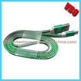Cable de carga de 2015 nuevos datos transparentes planos móviles flexibles de alta velocidad del USB para el teléfono celular