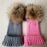 流行の動物の毛皮の球の帽子の柔らかいアライグマPOM Pomsのニットの帽子