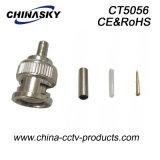 Adattatore della piegatura BNC del CCTV del maschio per Rg174 cavo coassiale (CT5056)