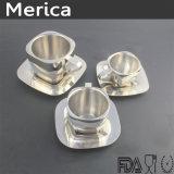 版が付いているステンレス鋼の倍の壁の正方形のコーヒーカップ