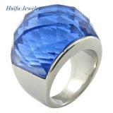anillo de imitación inoxidable de las piedras preciosas del azul de acero 316L
