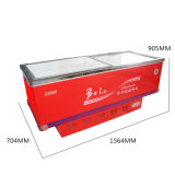 congelador liso do console do gabinete da porta 356L deslizante para o supermercado