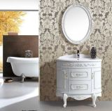 Solid all'ingrosso Wood Floor Standing Bathroom Vanity con Mirror