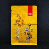 Sachet en plastique droit stratifié par modèle comique de nourriture de Customzied de sac de café de blocage de fermeture éclair de papier d'aluminium de poche de fond plat