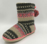 Lds Knit Pompom Slipper Boots