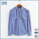 Overhemd van de Vrouwen van de Controle van het Kant van de Koker van de manier 100%Cotton het Lange