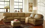 Sofà di cuoio del salone con l'angolo per gli insiemi di cuoio italiani del sofà