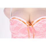 Different Size White Transparent Bustier Top Babydoll with Sheer Bodice and G - String