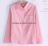 Rosafarbenes Plaid-Frauen `S Baumwollhemd