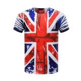 Le T-shirt 100% fait sur commande d'impression de la sublimation 3D de coton d'OEM avec Plonger-Teignent