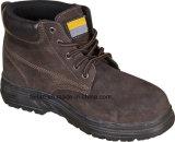 Zapato de seguridad de cuero del ante con el Mediados de-Tobillo