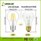 Lumière d'ampoule de filament de l'éclairage 24V-240V E27 8W DEL de Dimmable DEL