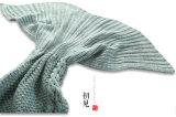 Связанное одеяло кабеля рыб одеяла кабеля Mermaid спального мешка Мор-Горничной