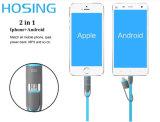 La venta más caliente 2 en 1 micro y los datos planos de la iluminación que encargan el cable del USB del precio bajo para I-Phone7/6 para la galaxia S7 de Samsung