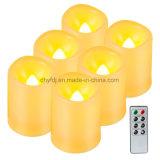 La batterie actionnent la lumière sans flammes de thé du solide DEL Candle/LED de lumière/paraffine de bougie de DEL