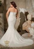 Вышитые Appliques на сети окаимились с кристаллический отбортовывая Mermaid плюс платье венчания размера