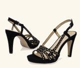 Lady Casual Crystal High Heels Mulheres Sandálias de camurça em couro de camurça