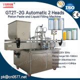 Máquina de rellenar de 2 pistas de la salsa gruesa automática del pistón con la mezcla para el cosmético (GT2T-2G)