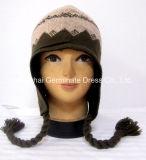 ポンポン(Hjb031)が付いている熱い販売の帽子の方法Earflapの編むジャカード帽子の帽子