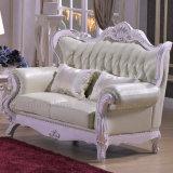 Sofá de cuero con la cabina de madera del vector para los muebles de la sala de estar