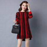 Lady Fashion à rayures Viscose Kntted Winter Fringe Pullover Sweater (YKY2062)