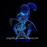 Änderungs-Tisch-Licht des VerkaufsschlagerSpider-Man3d mehrfarbiges, Acrylhauptlampe des dekor-3D